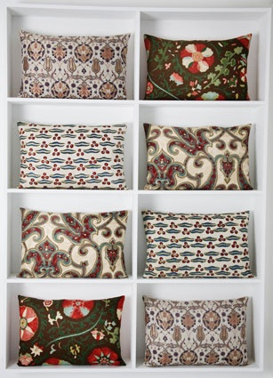 embroidered Rifat Ozbek pillows