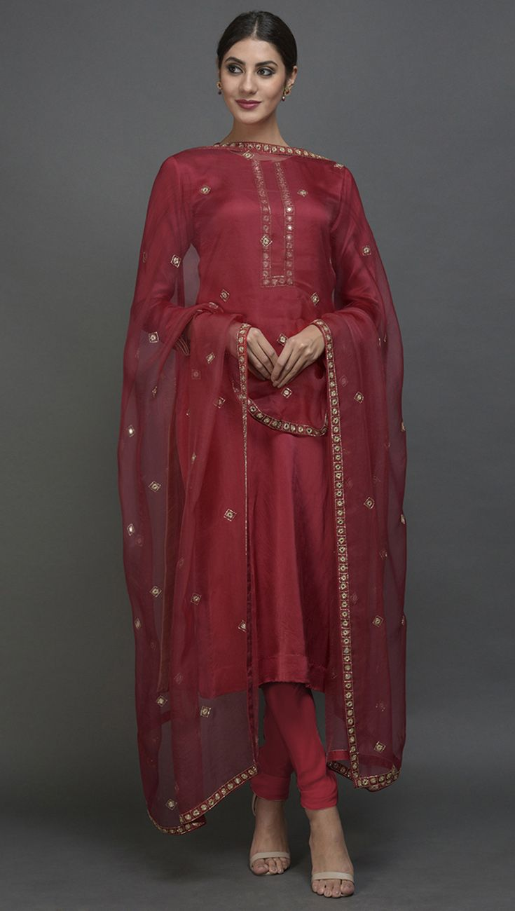 967995fff7544a Royal Red Mirror Work   Zardozi Hand Embroidered Suit with Dupatta ...