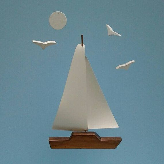 SAILBOAT w Seagulls Mobile,Brown,Sailboat Mobile,Seagulls,Moon,Ocean Art Mobile,Sailboat Decoration,Nautical, Wooden Sailboat Mobile, Y18