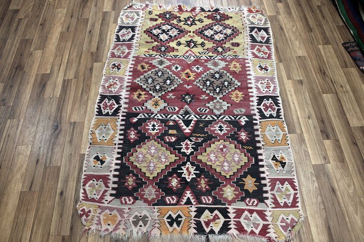 Vintage Sivas Kilim Rug, Medium Size Kilim Rug, Distressed Kilim Rug, Geometric Design! by NotonlyRugs on Etsy