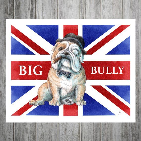 ENGLISH BULLDOG DOG HEADS ON UNION JACK FLAG PATRIOTIC DOG PRINT READY MOUNTED