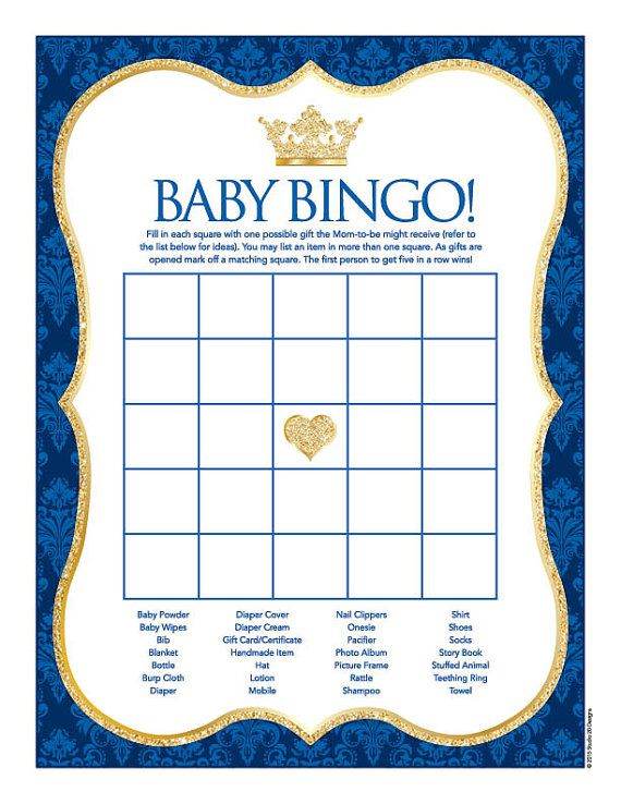 Instant Download Royal Blue Prince Baby Shower by Studio20Designs