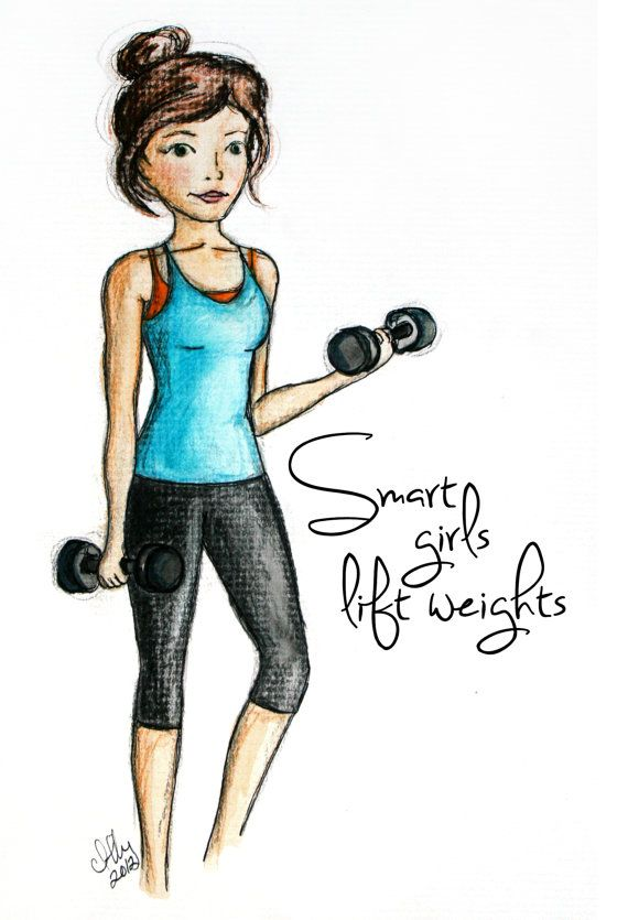 Smart Girls Lift Weights  - Fitness & Health inspired illustration - Art Print. $20.00, via Etsy.