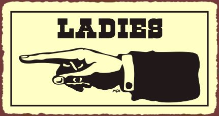 Ladies to Left Vintage Western Metal Toilet Bathroom Retro Tin Sign