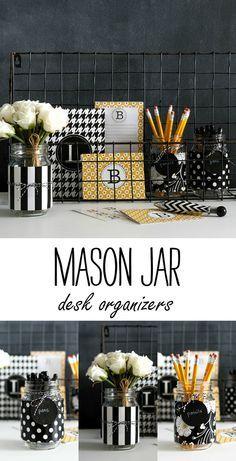 Mason Jar Desk Accessories - Mason Jar Crafts Love