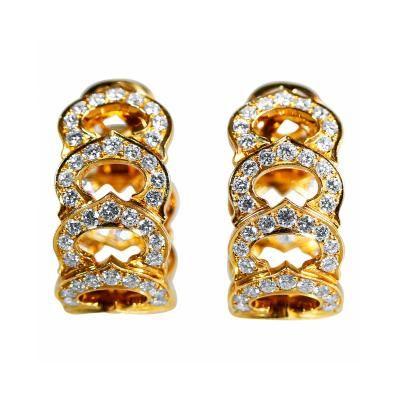 Cartier Diamond Gold C Motif Hoop Earclips by   Cartier
