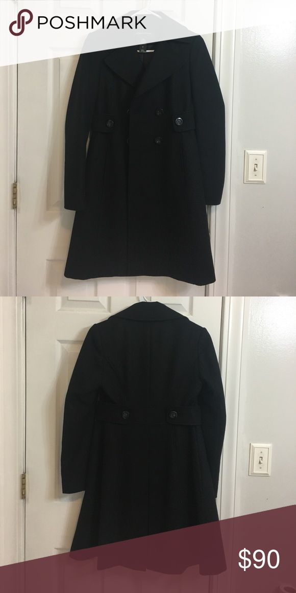 "Black double breasted pea coat Black pea coat, size 0, only worn a few times and in excellent condition, I'm 5'3"" and it goes down to just above my knees Moda International Jackets & Coats Pea Coats"