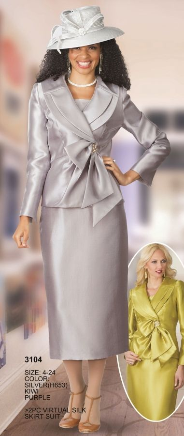 Lily and Taylor 3104 Womens Church Suit- Two piece virtual silk women's church suit. MATCHING HAT H653 sold separately for $97.99