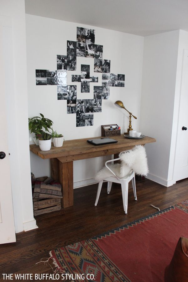 Awesome use of photos to decorate a wall with a Southwestern motif.