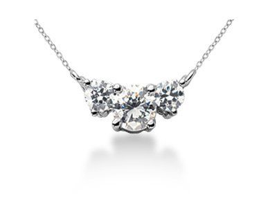 0.55CTW Classic Round Diamond Three Stone Necklace in Platinum Szul. $1550.00. Complimentary Packaging. 60 Day Complimentary Repair Service. 30 Day Money Back Guarantee