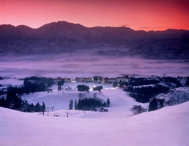 Stunning sunset over the Niigata ski slopes