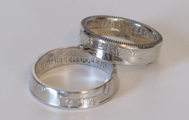 I make these beautifully hand crafted coin rings from real U.S. quarters. From 1932 through1964, U.S. Washington quarters were minted using 90% pure silver. I start with the best coins that I can find