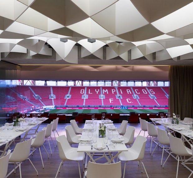 Restaurante do estádio do Olympiacos, na Grécia.