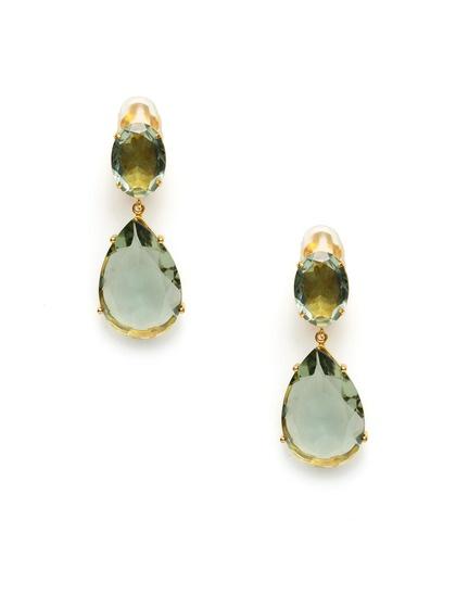 Bounkit Oval & Pear Cut Green Amethyst Drop Earrings