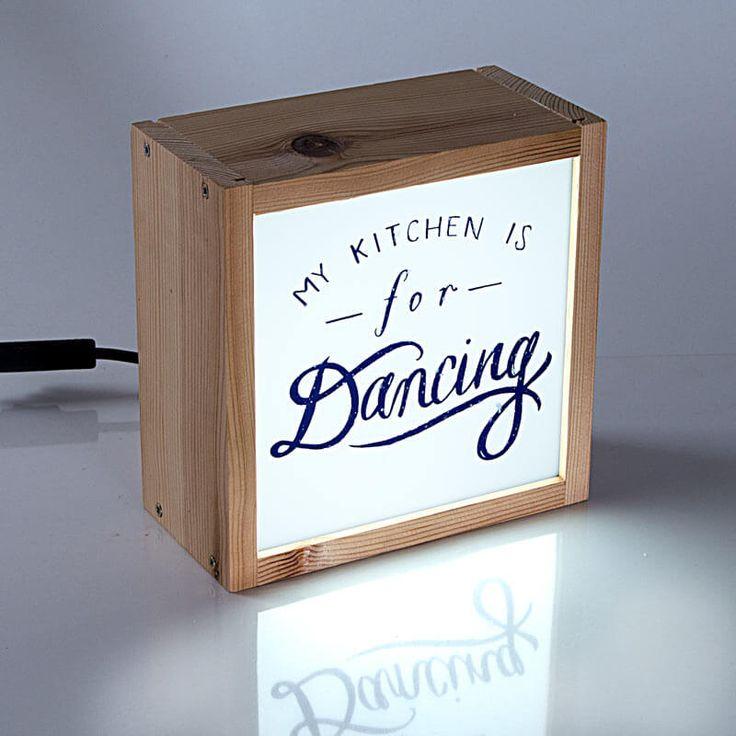 Caja de luz decorativa para la cocina con texto my - Caja de luz de madera ...