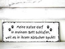 Shabby Vintage Schild KATZE - KÖRBCHEN Nostalgie