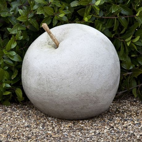 Concrete garden art apple. Put the appropriate windfall under each tree.