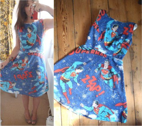 Vintage Superman Dress 70s Retro Geek super hero by TheLuckyFox, $108.00