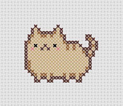 Pudge Kawaii Cat Cross Stitch (Printable PDF Pattern) - Immediate Download from Etsy - Cute Cat / Kitten / Kitty Pusheen