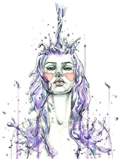 """""""Aquarius"""" Art Print by Mia Desu   Society6  What makes YOU tick?  Sign up for a chance to win a FREE #astrology reading! www.insideconnection.tv  Winners chosen monthly.  #zodiac"""