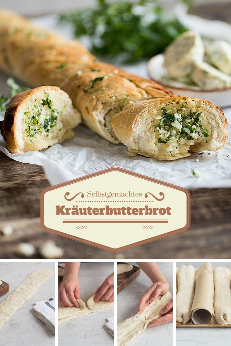 Brot selber backen ist ja grundsätzlich schon mal eine super Idee. Hausgemachte Kräuterbutter dazu? Noch viel besser. Im warmen Ofen zieht die aromatische Butter in den lockeren Hefeteig ein und macht das Baguette richtig schön saftig. Kräuterbutterbaguette!