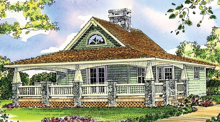 A wide, welcoming porch wraps around three sides of this
