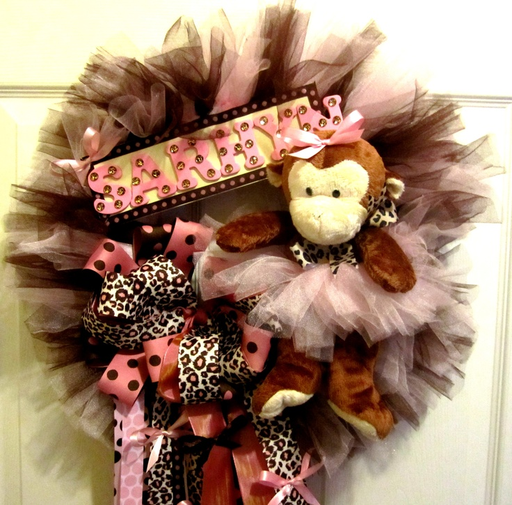 Pink and Cheetah Baby Wreath with Monkey. Have at baby shower, bring to hospital to welcome guests, and take home to hang in the nursery! Will match crib bedding and nursery theme!