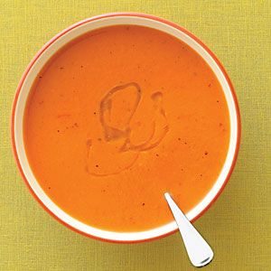 Roasted Red Pepper Soup - added garlic, pepper, basil, and mural of flavor.  Delicious!