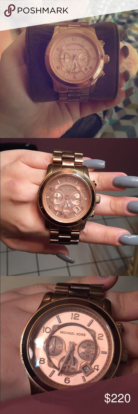 Micheal Kors rose gold watch Runaway big face watch rose gold have extra links MICHAEL Michael Kors Accessories Watches