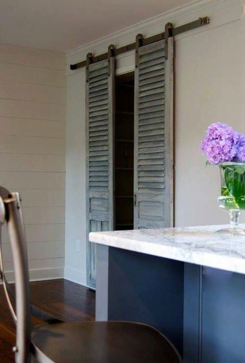 Use shutters when you want to use the barn door look in smaller spaces.