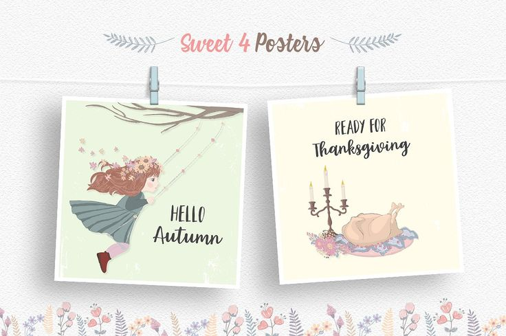 Thanksgiving Day Illustrations Set by Moving Parallels on @creativemarket  Cute Thanksgiving Day Fall Illustration Set includes sweet vector, fantasy drawing elements made in kids sketch style. Design created in cartoonish flat style in pastel Scandinavian colors. You can easily use poster with quote for cards, prints, children books, birthday or anniversary events, invites, promotion, unique t-shirt prints, stickers, wallpaper design images or backgrounds and other artworks for sale or…
