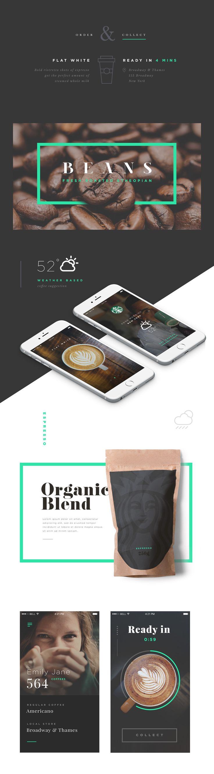 Starbucks is an amazing brand to work on. Coffee is also such a necessary part of life. I looked at the user experience waking up in the morning and getting coffee as quickly as possible through a visual journey based on weather suggestions.