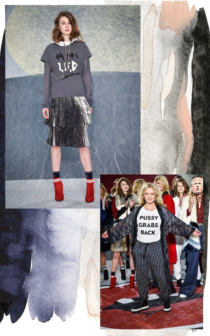 Munthe Statement!  More at --> http://thewanderlette.com/2017/02/16/top-looks-copenhagen-fashion-week-aw17/   #fw #fashion #week #fashionweek #cphfw #copenhagen #scandinavia #scandistyle #nordic #style #collection #aw17 #season #brand #highend #catwalk #runway #inspiration #denmark #munthe #pussy #grab #back #trump #quotes #empowerment #feminism #girlboss