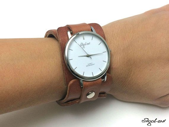 Watch In Brown Leather Strap-Leather Cuff Watch-Womens Watch-Cuff Watches-Wide Watch-Wide Wrist Watch-FREE SHIPPING