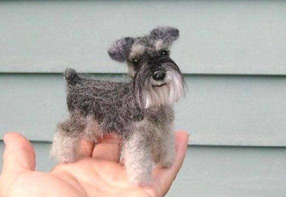 Custom Pet Portrait / Your DOG in Miniature / Cute / Handmade Poseable Art Sculpture Personalized gift / example Schnauzer