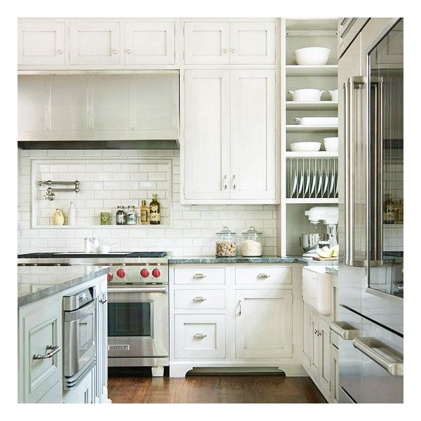 Open Oven In Kitchen: Kitchen Porcelain Sinks White Cabinets Open Shelving