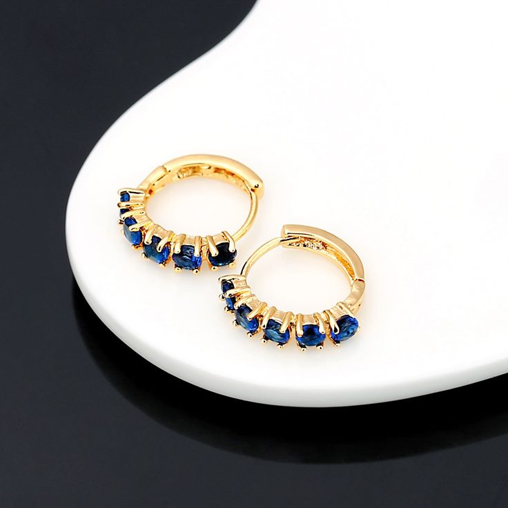 1Pair Clear Crystal Zircon 18K Gold Plated Cross Drop Dangle Sales Online 18k gold plated blue - Tomtop.com
