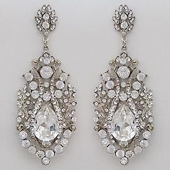 Vintage old Hollywood glam crystal bridal chandelier earrings designed by Regina B.  Handcrafted in NYC.