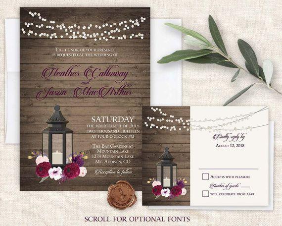 lantern wedding invitations set printable rustic by notedoccasions - Lantern Wedding Invitations