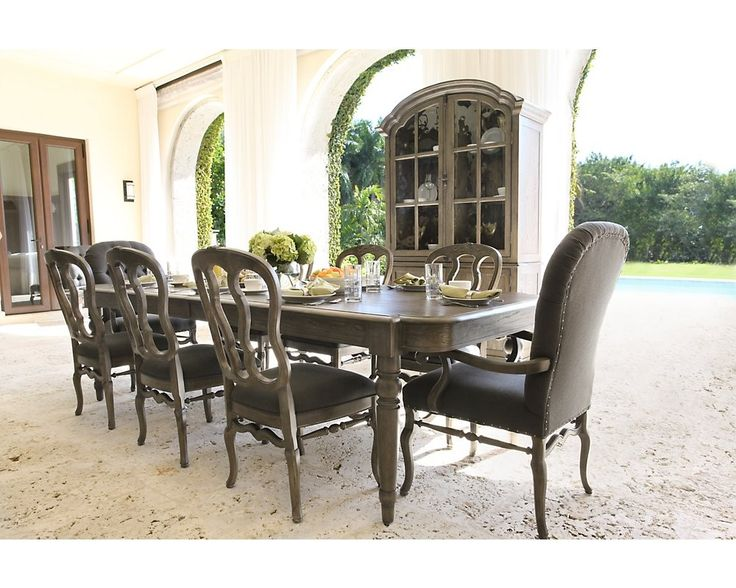 Bernhardt Belgian Oak 9pc Rectangular Extendable Dining Room Set With  Wooden Side Chairs U0026 Button Tufted