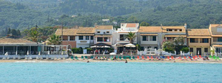 Acharavi beach resort - lots of little family-run tavernas scattered along the foreshore.