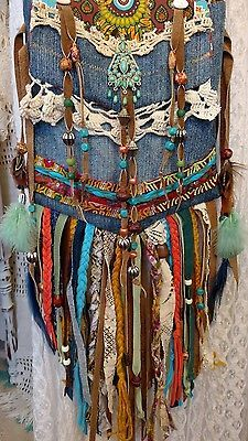 Handmade Denim Long Fringe Festival Cross Body Bag HIppie Boho Hobo Purse tmyers