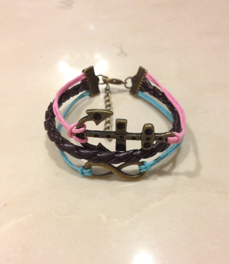 Brass Infinity & Anchor Charm Bracelet. It looks bronze, pink, and blue to me too!