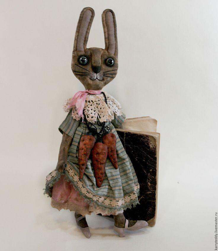 """Купить Примитивная кукла """"Зая Маруся с моркофелем""""))) - коричневый, заяц, Заяц в подарок, заяц текстильный"""
