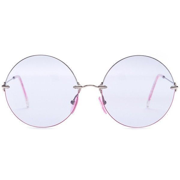 Christopher Kane Women's Metal Oversized Round Sunglasses ($120) ❤ liked on Polyvore featuring accessories, eyewear, sunglasses, electric pink, round metal sunglasses, metal sunglasses, round lens glasses, oversized glasses and pink round sunglasses