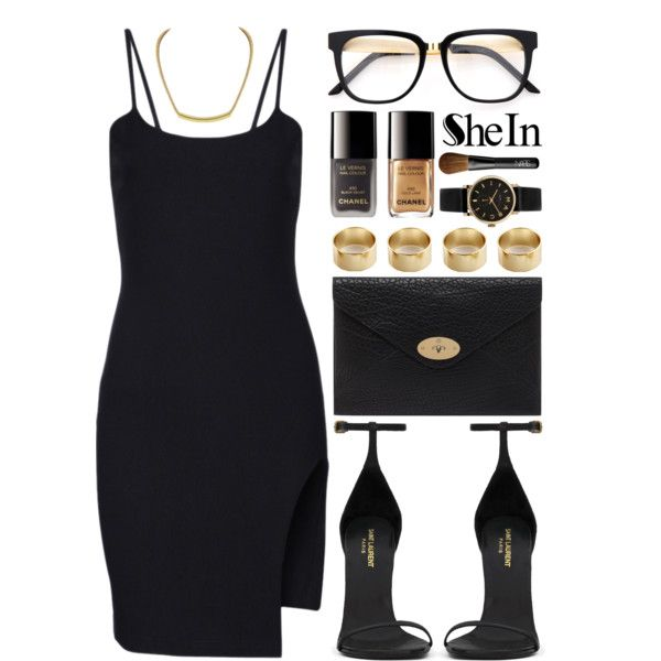 Sheinside by ruska-10 on Polyvore featuring moda, Yves Saint Laurent, Mulberry, Marc by Marc Jacobs, NARS Cosmetics and Chanel