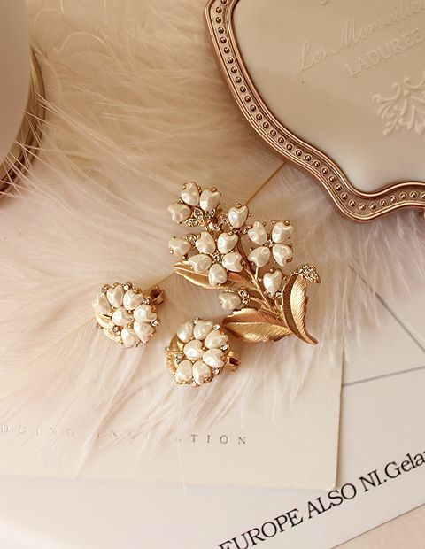 Приостановила продажи американских 1950-х годов антикварные модели Лили Ландыши ретро элегантный жемчужно бриллиантовая брошь уха клип женщина - глобальная станция Taobao
