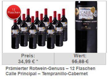 """Dailydeal: Zwölferpaket goldprämierter """"Calle Principal"""" für 34,99 Euro frei Haus https://www.discountfan.de/artikel/essen_und_trinken/dailydeal-zwoelferpaket-goldpraemierter-calle-principal-fuer-3499-euro-frei-haus.php Ein alter Bekannter zum neuen Preis: Der goldprämierte """"Calle Principal – Tempranillo-Cabernet Sauvignon – Vino de la Terra Castilla"""" ist jetzt bei Dailydeal im Zwölferpaket für 34,99 Euro frei Haus zu haben – macht weniger als 2,"""