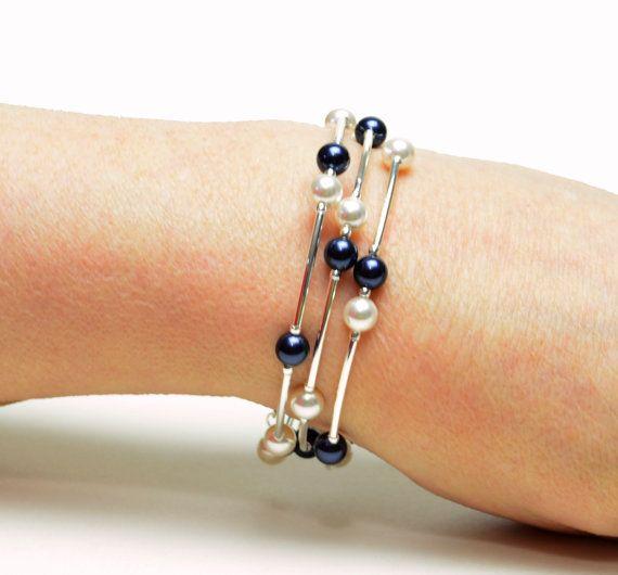 Oscuro azul marino flotante perla memoria alambre por lilicharms