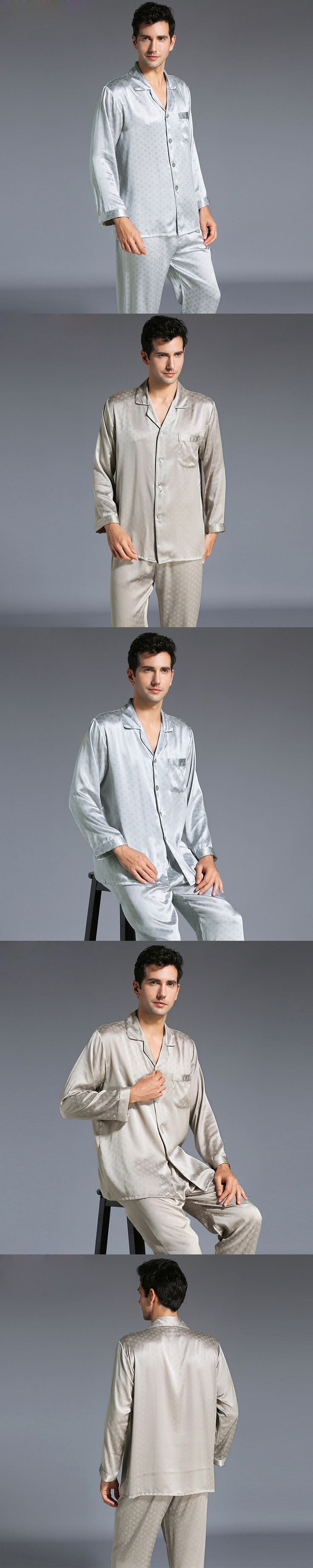 New Autumn Men's Silk Pajamas Long-Sleeve Two Pieces Set Sleepwear Male 100% Silk Pajama Suit Free Shipping